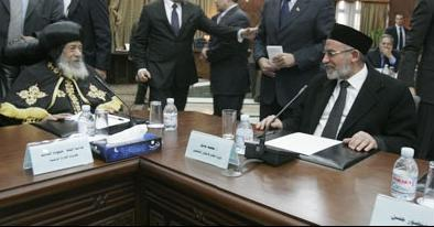 Warm Meeting: Dr. Mohamed Badie, Pope Shenouda III; Harmony  on 'Restore Revolution Spirit'