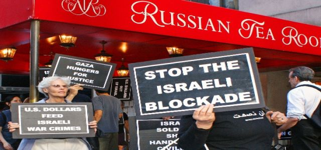 Protesters picket speech by Israel's Tzipi Livni at New York City's Russian Tea Room
